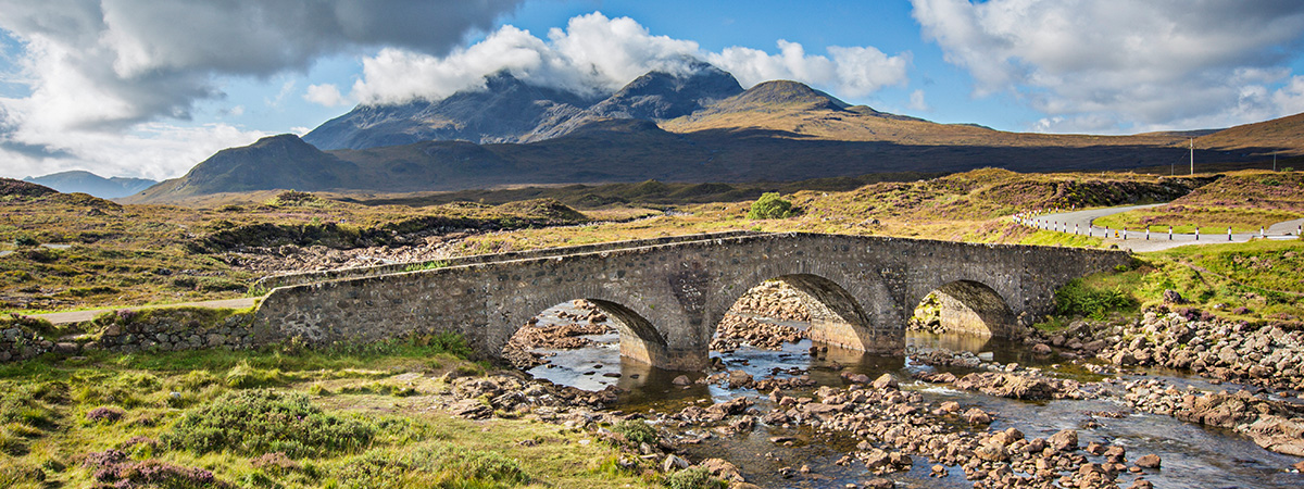 Sligachan bridge with Cuillin mountain peaks in the background